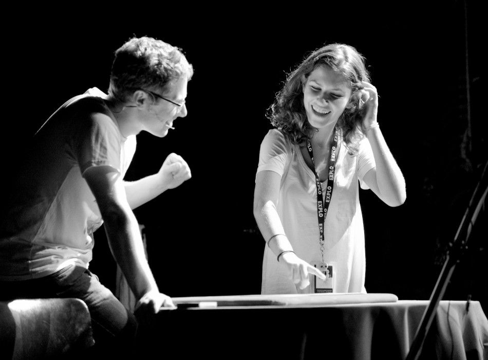 Ben Seidman Performing Magic and assistant reaction